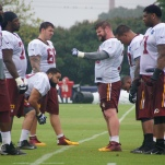 Redskins offensive linemen take part in drills.