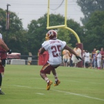 Running back Chris Thompson makes a cut on a return.