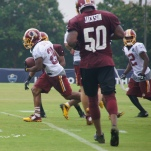 Running back Chris Thompson heads upfield on a return.