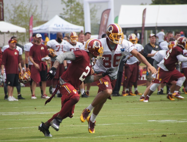 DeAngelo Hall goes against tight end Jordan Reed.