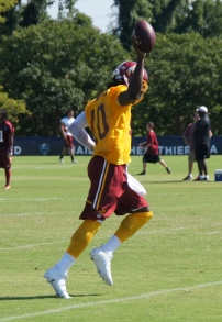Robert Griffin III acknowledges fans after his long run. Photo by Jake Russell.