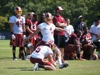Rookie kicker Zach Hocker looks to split the uprights. Photo by Jake Russell.