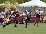 Wide receiver Andre Roberts runs past safety Brandon Meriweather. Photo by Jake Russell.