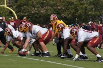 Quarterback Kirk Cousins commands the offensive line. Photo by Terri Russell.