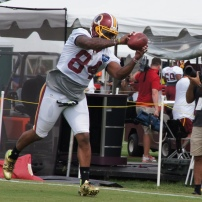 Tight end Niles Paul catches a pass. Photo by Terri Russell.