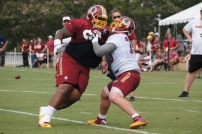 Defensive tackle Terrance Knighton faces off with center Kory Lichtensteiger. Photo by Jake Russell.