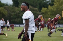 Wide receiver DeSean Jackson laughs during practice. Photo by Terri Russell.