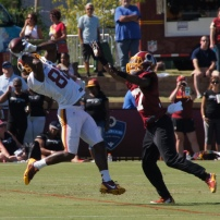 Wide receiver Pierre Garcon makes a catch against cornerback Tevin Mitchel. Photo by Jake Russell.