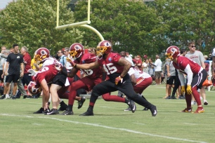 The Redskins go through special teams drills. (Photo by Jake Russell)