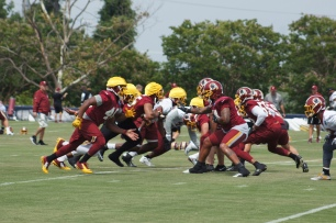 The Redskins work on special teams drills. (Photo by Jake Russell)