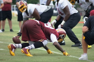 Linebacker Junior Galette prepares to work on a pass rush drill. (Photo by Jake Russell)