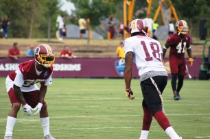 Wide receiver Josh Doctson and cornerback Deshaun Phillips prepare to square off. (Photo by Jake Russell)