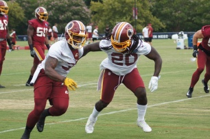 Running backs Mack Brown and Rob Kelley forge ahead. (Photo by Jake Russell)