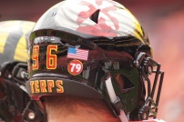 The back of defensive lineman Brett Kulka's helmet displays the No. 79 sticker honoring late Maryland offensive lineman Jordan McNair. (Photo by Jake Russell)