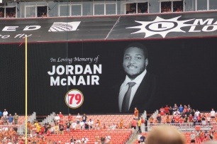 Late Maryland offensive lineman Jordan McNair is honored before the game. (Photo by Jake Russell)