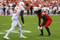 Maryland defensive back Tino Ellis lines up against Texas wide receiver Devin Duvernay. (Photo by Jake Russell)