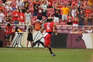 Maryland wide receiver Jeshaun Jones scores on a 65-yard touchdown reception. (Photo by Jake Russell)