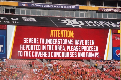 Weather delayed the game for 86 minutes. (Photo by Jake Russell)