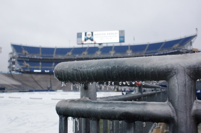 A frozen Beaver Stadium is eerily calm hours before kickoff. (Photo by Jake Russell)