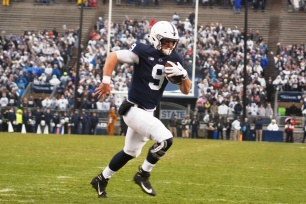 Penn State quarterback Trace McSorley runs into the end zone for his first of two rushing touchdowns on the day. (Photo by Jake Russell)