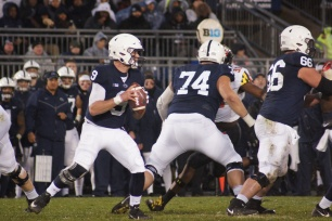 Trace McSorley looks to make a pass. (Photo by Jake Russell)