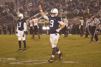 Nittany Lions quarterback Trace McSorley walks off the Beaver Stadium field after his last play as Penn State's quarterback. (Photo by Jake Russell)