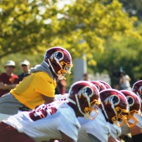 Redskins rookie quarterback Dwayne Haskins at the line of scrimmage. (Photo by Jake Russell)