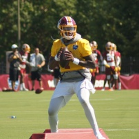 Redskins rookie quarterback Dwayne Haskins. (Photo by Jake Russell)