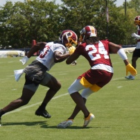 Cornerback Josh Norman and wide receiver Kelvin Harmon work on drills after practice. (Photo by Jake Russell)