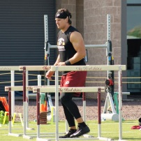 Redskins linebacker Ryan Kerrigan works with the hurdles. (Photo by Terri Russell)