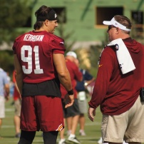 Ryan Kerrigan at the beginning of Friday's practice. (Photo by Jake Russell)